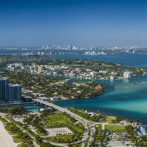 Aerial Panorama of Haulover inlet and Bay Harbor Islands, Miami Beach, Florida.